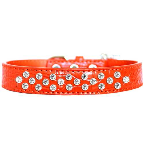 Sprinkles Clear Jewel Croc Dog Collar Orange Size 18
