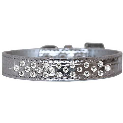 Sprinkles Clear Jewel Croc Dog Collar Silver Size 14