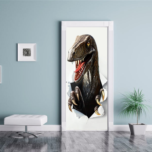 77x200cm Creative Animal Dinosaur Door Stickers Painting Wallpaper Poster Wall Sticker  Bedroom Living Room Home Decoration
