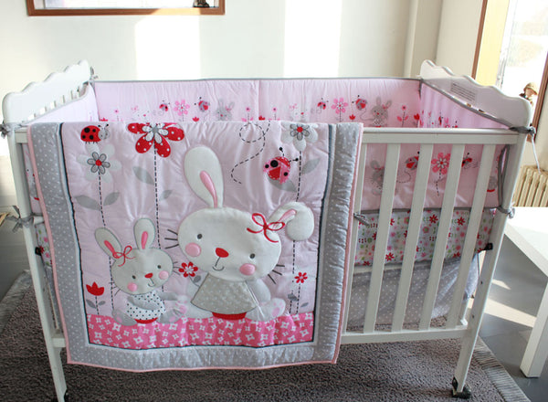 7Pc Crib Infant Room Kids Baby Bedroom Set Nursery Bedding Pink Rabit Cot bedding set for newborn baby boy