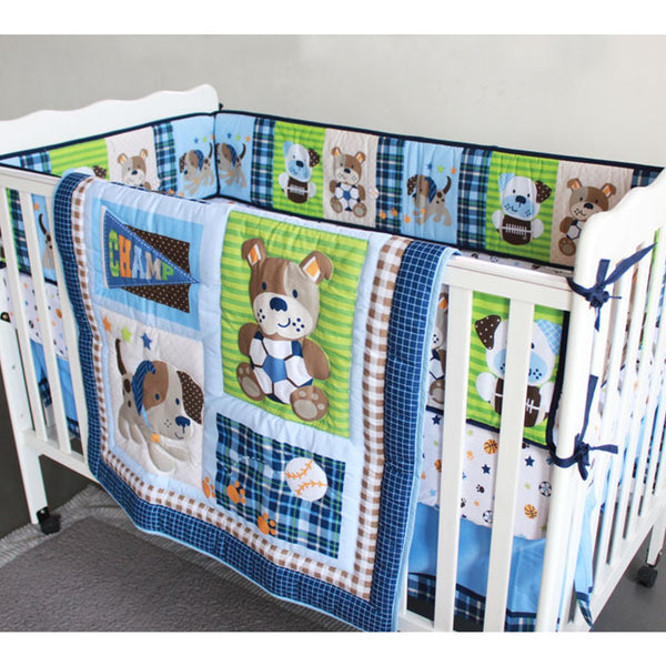 7Pcs Infant Baby Bedding Set Crib Cot Comforter Side Bumpers Bedskirt Nursery Quilt Sheet Blanket Cover Cartoon Animals Bedding