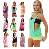 7colors Summer Sexy Women's Tank Tops Quick Drying Loose Brethable Fitness Sleeveless Vest Workout Top Exercise T-shirt