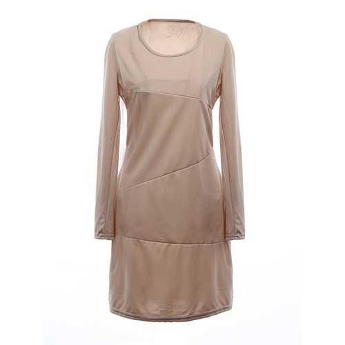 Women Elegant Round Neck Long Sleeve Slim Work Dress