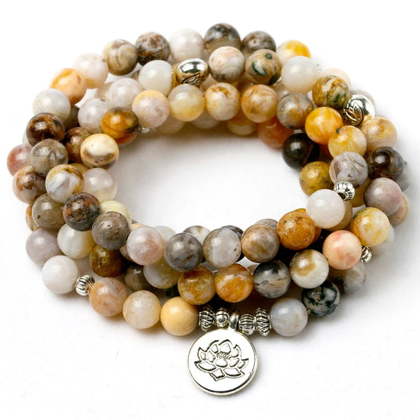 8MM Bamboo leaves Onyx Natural Stone Mala 108 Prayer Beads Necklace Bracelet Men Women Buddhist OM Charm Bracelet Yoga Jewelry