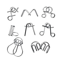 8PCS/Set Metal Montessori Puzzle Wire IQ Mind Brain Teaser Puzzles for Anti-Stress Reliever