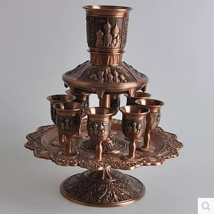 8PCS/set bronze metal wine set 1flagon6cups tower beer whiskey decanter for home decoration JJ018