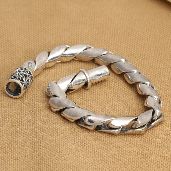 8mm Handmade S925 silver link chain bracelet good luck bracelet vintage thai silver man bracelet male jewelry gift