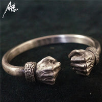 925 Sterling Silver Bracelet Customize Manual Handmade Men And Women Vintage Bangle Power Fist Counterpart Dark Pioneer