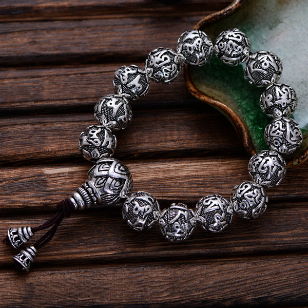 925 Sterling Silver Thai Retro Men Jewelry Six Words Mantra Buddha Beads Transfer Rosary Bracelet CH054149