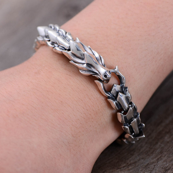 925 silver workmanship dragon scale stripe male gas Bracelet Chain retro Thai silver keel hand decoration factory direct sale
