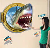Amazing 3D Shark Wall Sticker. Adventure Thrilling Decal Sticker on Wall