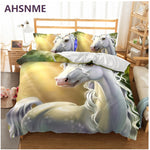 AHSNME Starry Sky with Unicorn Pattern Bedding Set Rhinoceros unicornis Children super girls love gift Quilt Cover King Queen