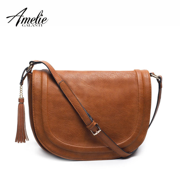 AMELIE GALANTI Large Saddle Bag Crossbody Bags for Women Brown Flap Purses  with Tassel Over the Shoulder Long Strap