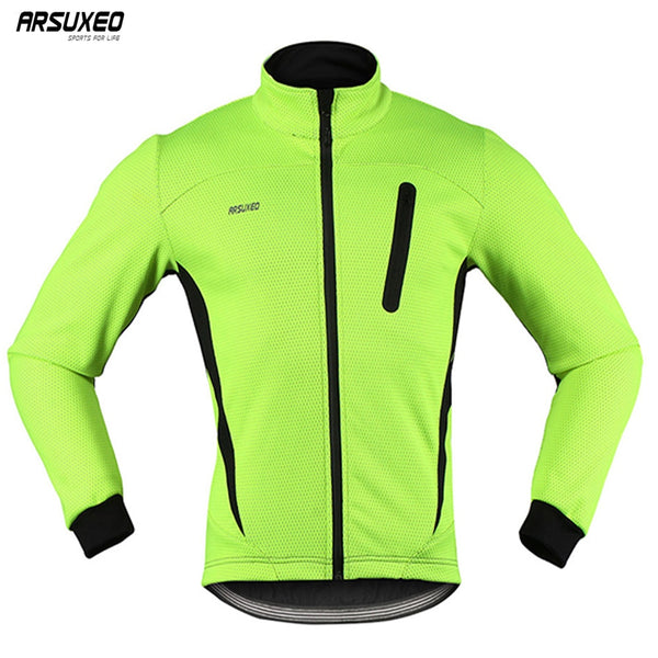 ARSUXEO Men's Thermal Cycling Jacket Winter Warm Up Fleece Bicycle Clothing Windproof Waterproof Sports Coat MTB Bike Jersey 16H