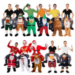 Adult Child Novelty Ride on Me Mascot Costumes Carry Back Fun Pants Christmas Halloween Party Cosplay Clothes Horse Riding Toys