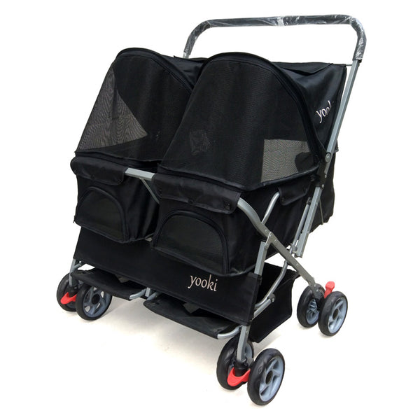 Advanced Double Seat Double Bed Dog Prams Light  Folded Instantly Cat Stroller 8 Wheel Folded Pet Stroller/Dog Strollers
