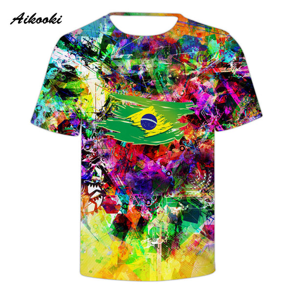 d1f646e1929e Aikooki 2018 Brazil National Flag 3D T-shirt Men / Women Cotton Tshirt 3D  Print