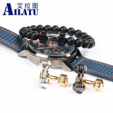 Ailatu 10 Pieces Wholesale Alloy Metal Barbell & Matte Black Stone Bead Fitness Fashion Men Dumbbell Bracelet GYM Dumbell Charm