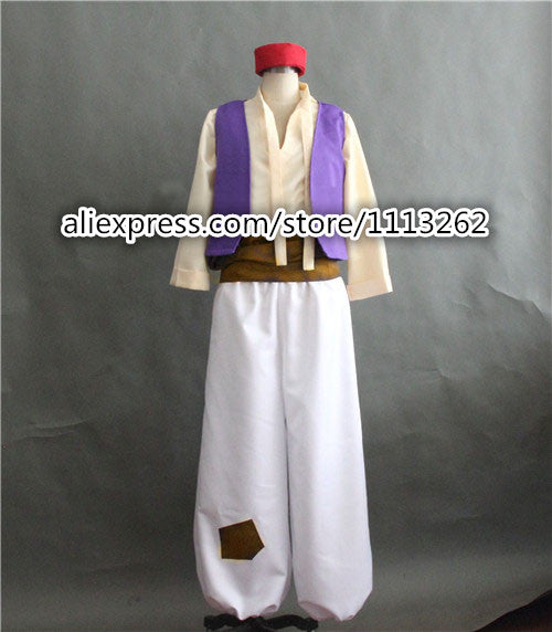 Aladdin Costume Arabian Prince Costume Aladdin Cosplay Suit Vest Shirt Pants Hat Halloween Party Costume for Men any size