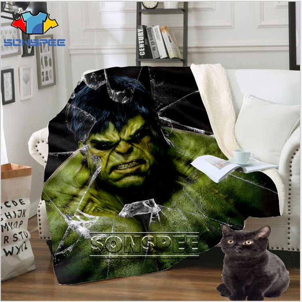 Anime Sofa Travel hulk Youth Bedding patterned Avengers car top stuffed blanket bedspread for boy girl travel blanket sofa quilt