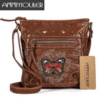 Annmouler Vintage Women Shoulder Bag 2 Colors Crossbody Bag Butterfly Embroidery Soft Messenger Bag for Ladies Pu Leather Purse