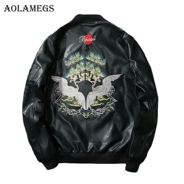 Aolamegs Leather Jackets Men Embroidery Cranes PU Men's Jacket MA-1 Stand Collar Fashion Outwear Men Coat Bomber Jacket Couple