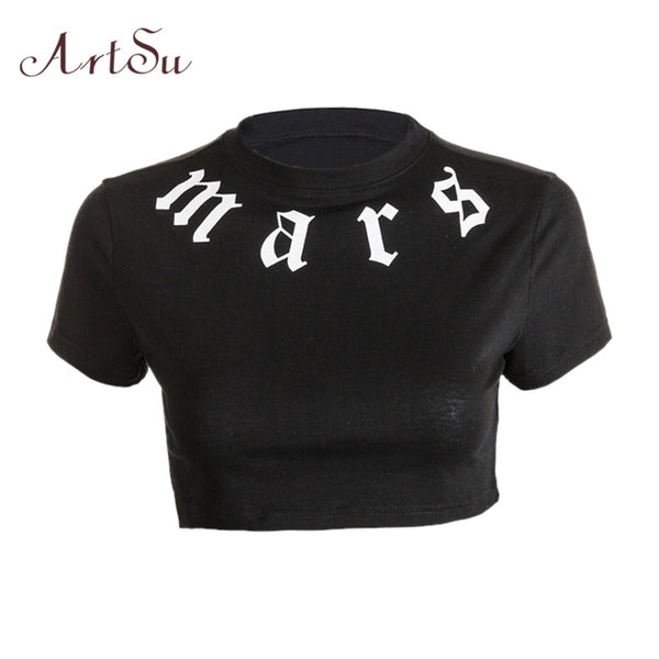 ArtSu Womens Tee Shirts Crop Top Workout Short Sleeve Black T shirt Fitness Tops Summer Short T-shirt Femme Camiseta ASTS20475