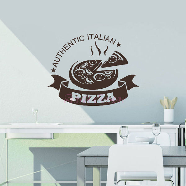Authentic Italian Pizza Vinyl Wall Stickers Removable Mural Decals for Kitchen restaurant Wall Decor art Wallpaper Decoration