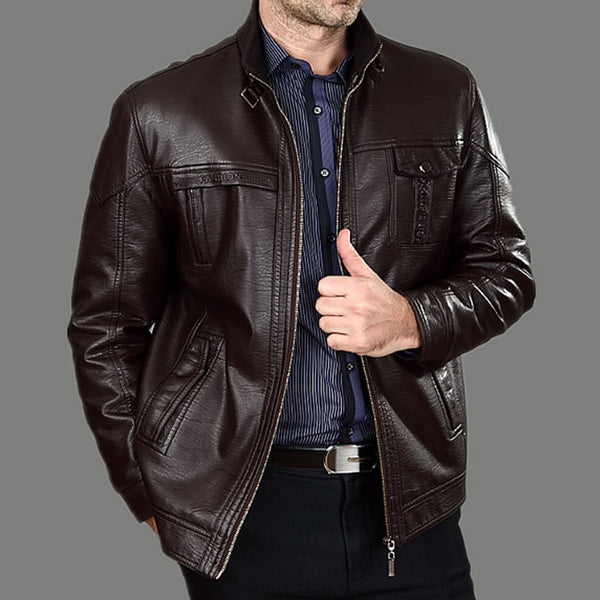 Autumn Middle-aged Men's Leather Jackets Fashion Winter Man With Thick Fur Big Yards Men's Leather Coat  100%cotton M-xxxl