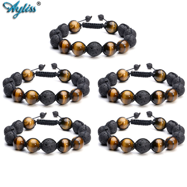 Ayliss Wholesale Natural Lava Stone and Tiger Eye 12mm Bead Handmade Healing Energy Macrame Adjustable Braided Link Bracelets