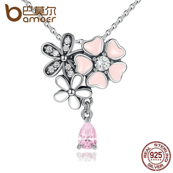 BAMOER Original 925 Sterling Silver Pink Heart Blossom Cherry Flower Pendants & Necklaces Women 45CM Kolye Jewelry SCN046