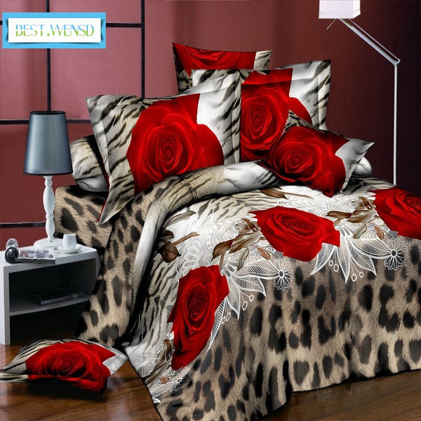 3D Red Rose Bedding Jacquard weave Home textiles bed linen,Leopard duvet cover pillowcase