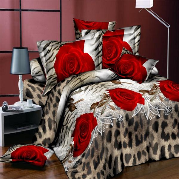 4pcs High quality Deluxe bedding Leopard Rose KING SIZE ONLY