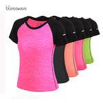BLESSKISS XXL Sport Shirt Women Yoga Top Fitness Short Sleeve Workout T shirt For Ladies Neon Running Tshirt Plus Size T-shirt
