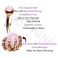 BODY PUNK 14G Belly Button Rings Piercing 316L Surgical Steel Pink Opalite Center Claw Shape Navel Rings Ombligo Jewelry Women