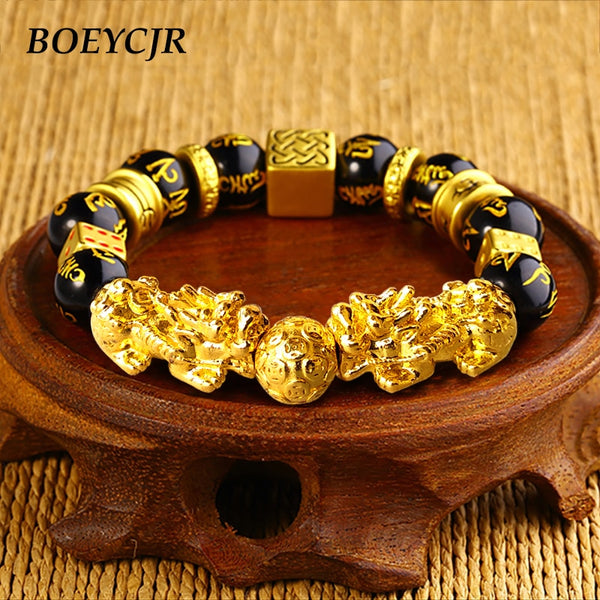 BOEYCJR Gold Color Brave Troops Stone Beads Bangles & Bracelets Fashion Jewelry Chinese Lucky Energy Bracelet For Men Gift 2018