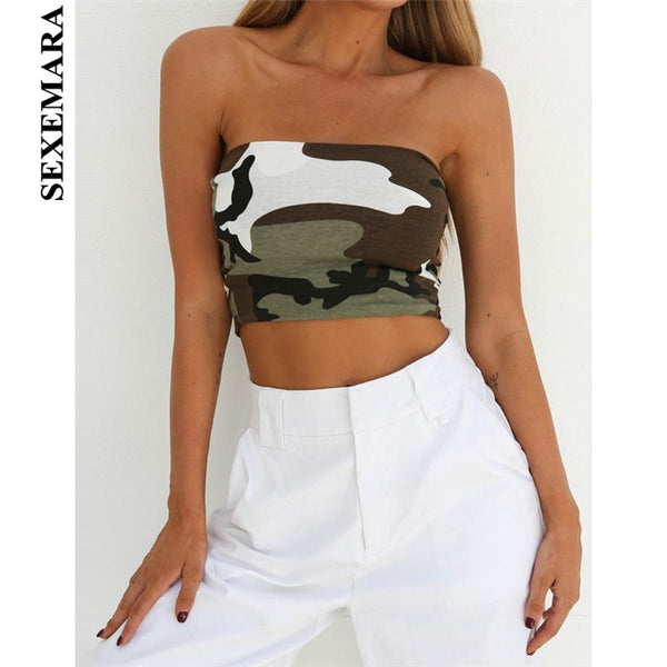 BOOFEENAA Camouflage Strapless Crop Top Off Shoulder T Shirt Women Streetwear Workout Camo Sexy Summer Tube Tops Clubwear C70G04