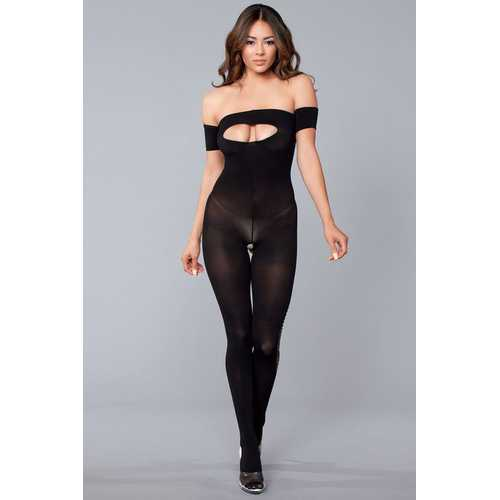 Strapless Bodystocking With Ripped Back Details - One Size - Black