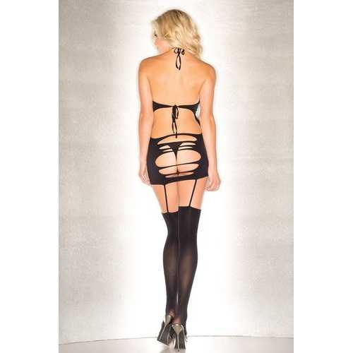 Seamless Shredded Halter Dress With Attached  Garters and Matching Shredded Stockings - One  Size - Black