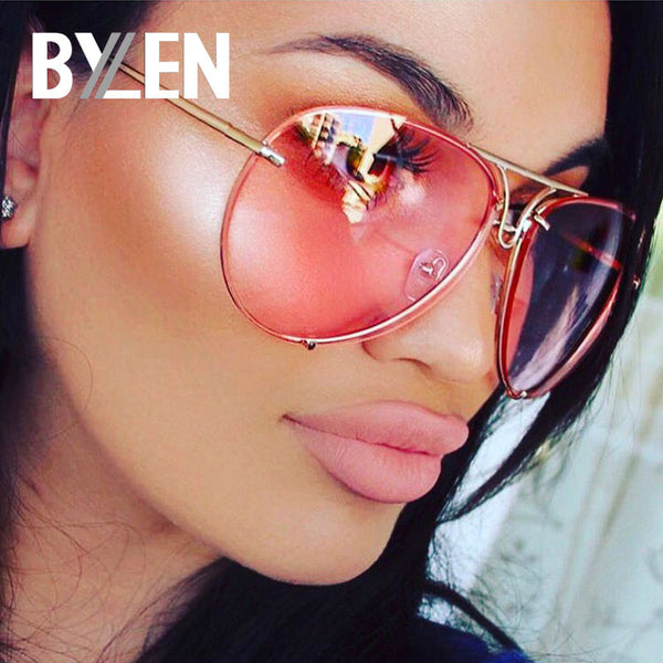 BYLEN 2019 Pilot Sunglasses Women Men Brand Designer Candy Colors Lens Sunglass for Mens Womens Oversized Frog Sun Glasses UV400
