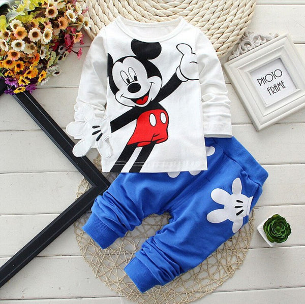 Baby Boys Clothes 2017 Spring Autumn Cartoon Leisure Long Sleeved T-shirts + Pants Newborn Baby Girl Clothes Kids Bebes Suits
