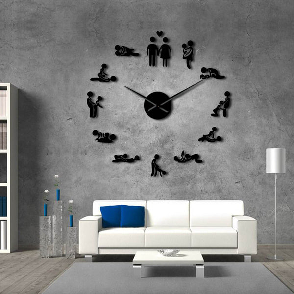 Giant Wall Clock Sex Love Position Frameless