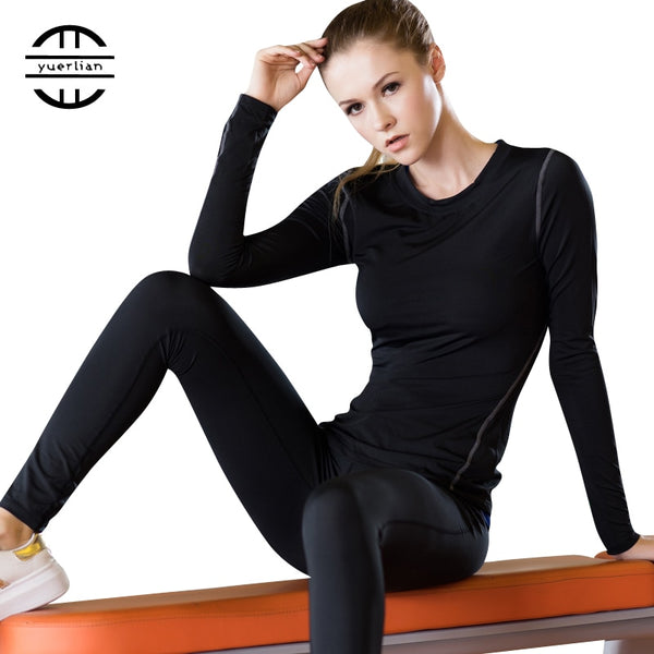Base Layer Fitness Sport Shirt Quick Dry Women long Sleeves Top Gym jogging lady T-shirt Train Workout Clothing White Yoga Shirt