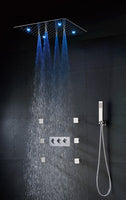 Bathroom Shower Faucet Set Accessories Faucet Panel Tap Hot And Cold Water Mixer LED Ceiling Shower Head Rain Bath & Shower