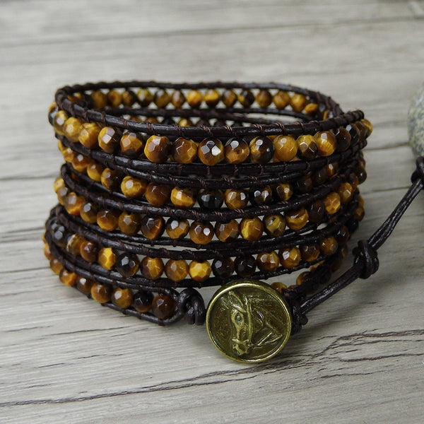 Bead wrap bracelet Tiger eye bracelet boho bead bracelet men leather wrap tiger eye beads Jewelry