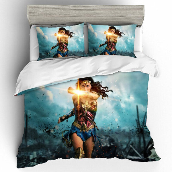 Bedding Set Queen King Size Wonder Woman Cotton Printing Bedding Sets Duvet Cover Bed Sheets Home Textile Pillowcases Bed Linen