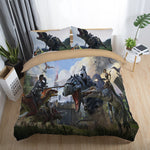 Bedding Set sanding Dinosaur wars game heroes aliens Fashion personality European style 2/3pcs soft Duvet Cover Sets Pillowcase