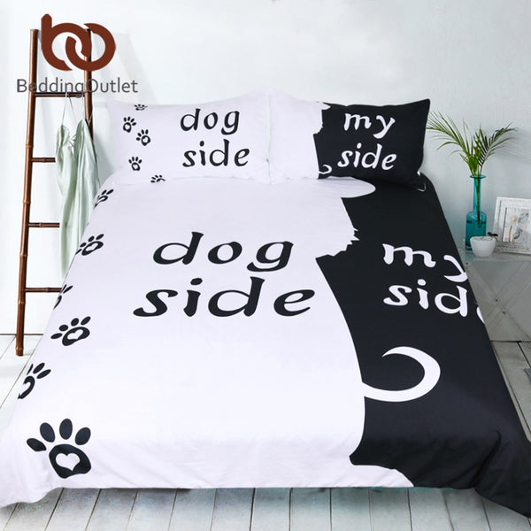 BeddingOutlet Cartoon Bedding Set for Kids Duvet Cover Set Dog Side and My Side Home Textiles Pet Footprint Black Bedclothes