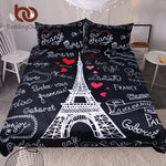 BeddingOutlet France Paris Tower Bedding Set Black and White Bed Set Romantic Letters Heart Print Quilt Cover Soft Home Textiles