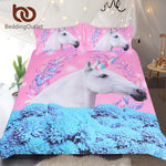BeddingOutlet Unicorn Bedding Set Pink and Blue Duvet Cover Set Floral 3-Piece Bedspreads Queen For Adult Kids Horse Bedclothes